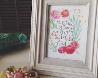 As For Me & My House Wall Art | Joshua 24:15 | Modern Calligraphy Watercolor Print | Floral Wreath Quote Art