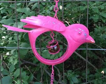 Bird Wind Chime w/Open Body / Pink Hanging Metal Yard Art / Patio Garden Outdoor Decor