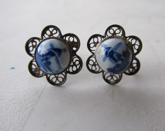 Delft Filigree Silver and Porcelain Screw Back Earrings