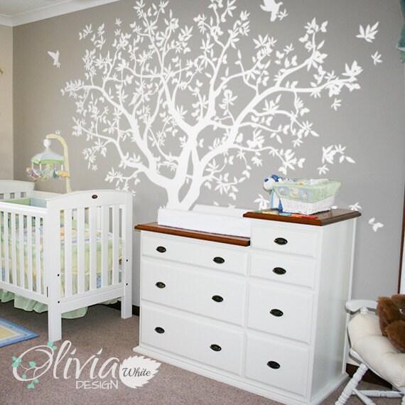 grand sticker mural de sapin blanc mur autocollant mur murale. Black Bedroom Furniture Sets. Home Design Ideas