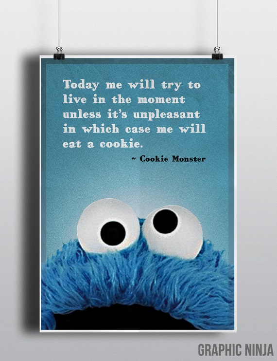 "Cookie Monster inspired poster - Cookie Monster 11x16"" philosophy print - Sesame Street Homewall art decor"