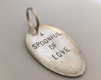 spoon keyring, spoonful of love, customised accessories, personalised spoon head, lovers gift, refurbished cutlery, recycled spoon, spoonie