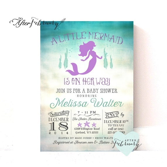 little mermaid baby shower invitations