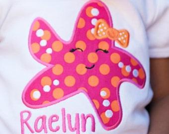 Girly starfish shirt with name