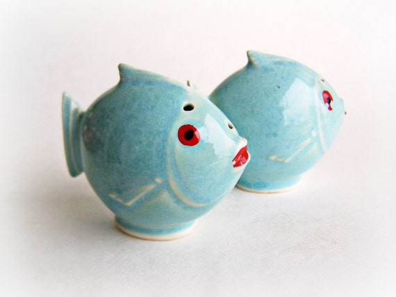 Vintage Fish Salt And Pepper Shakers Glazed By Shakethatthang