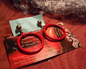 Vintage 1960's Pierced Post  Enameled Gold tone Candy Apple Red  Retro Boho  Hippie Hoop Earrings   jj201575
