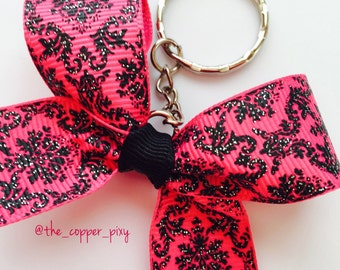 Pink and black damask mini keychain bow with silver glitter