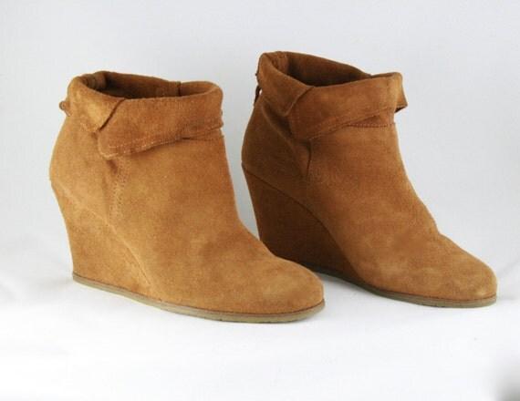camel colored suede boots wedge heel heel boots