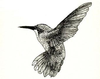 Hummingbird - temporary tattoo