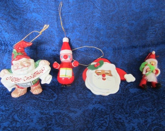 Vintage Santa Tree Ornaments Circa 60-70s- solid wood & ceramic pieces, a nice addition to your ornament collection. Handcrafted-Handpainted