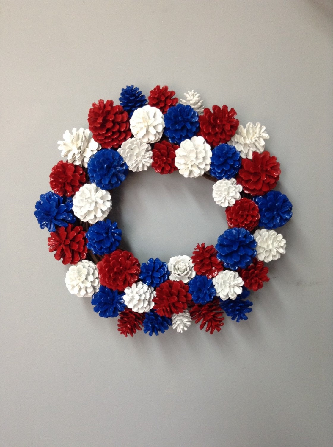 Patriotic Pinecone Wreath Patriotic Decor Pinecone Decor