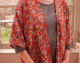 Handmade Women's Kimono Jacket - Red/White/Green Floral Print