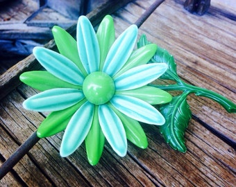 Vintage blue green enamel metal flower pin