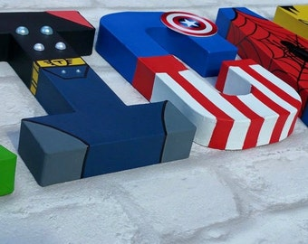 Superhero Letters. Personalised Hand Painted Papier Mache Letters. Super Hero Letter Kids Name. MADE TO ORDER