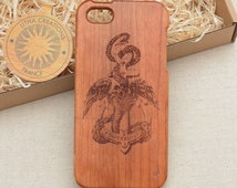 Antique Style Marina Custom Design ''Quetzalcoatl'' Natural Cherry Wood Phone Case HTC One M8 M9 LG G2 G3 G4 G5 Sony Xperia Z5 Z3 Compact