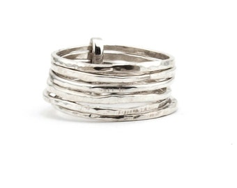 7 Silver Rings,Stacking Silver Ring Hammered Skinny Rings, silver Hammered Stacking Ring Set