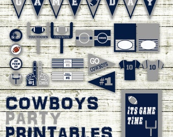 Cowboys Football Party Printables and Decorations - Printable - 15 Pages in PDF Format - INSTaNT DOWNLoAD