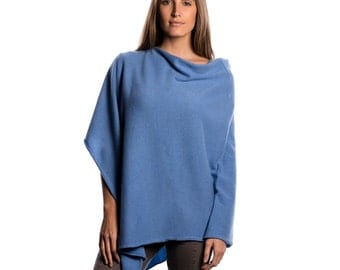 Periwinkle Blue 100% Cashmere Poncho
