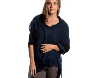 Denim Blue 100% Cashmere Wrap