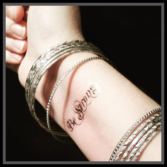 Quote Tattoo Temporary Quote Tattoo Be Strong Fake Tattoo