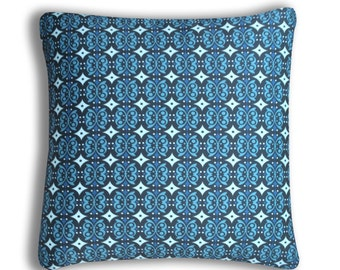 Blue Graphic Decorative Pillow - Organic Cotton, Eco Friendly Dyes – 6 Sizes Available