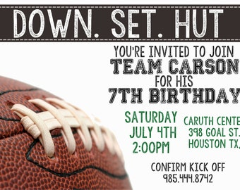 Down. Set. Hut Football Invitation