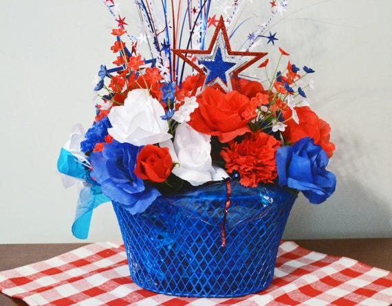 4th of July Centerpiece Floral Arrangement by SeasonalBoutique