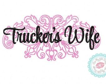 Trucker's Wife Damask  Machine Embroidery Design