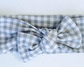 Top Knot Headband-Gray Gingham