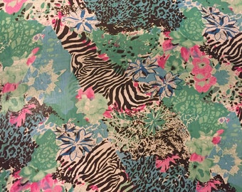 Tropical Zebra Breeze Chiffon Sewing Fabric/ DIY/ Projects/ Supplies/ Yardage