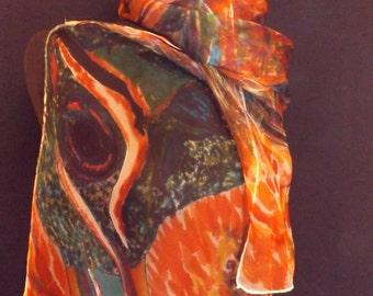 An abstract Peacock on finest Premium Organza Silk