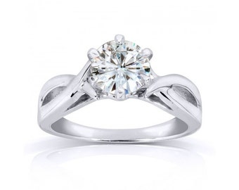 Round Moissanite Solitaire Engagement Ring 1 Carat (ctw) in 14k White Gold