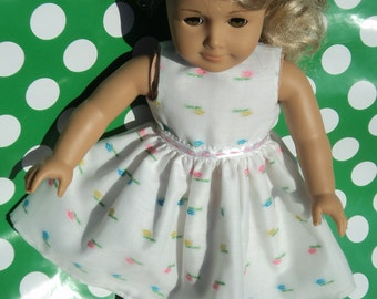"""Doll Dress - White Doll Dress - Embroidered Doll Dress - Floral Doll Dress - Doll Dress - 18 inch Doll Dress - 18"""" Doll Dress"""