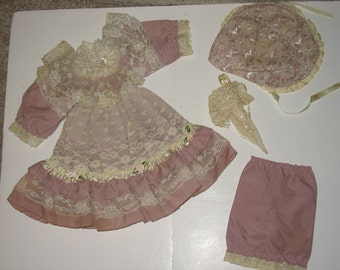 Vintage Doll Dress with Pantaloons, Parasol and Hat