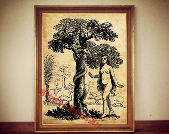 Eve and Snake print, Eden Tree of Knoledge antiqued print, The Bible, The First Book of Moses, vintage home decor, cabin style #69