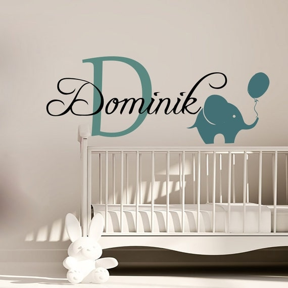 Name In Lights Wall Decor : Wall Decals Personalized Name Decal Vinyl Sticker Elephant Balloon Boy Baby Children Nursery ...