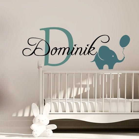 Wall Decals Personalized Name Decal Vinyl Sticker Elephant Balloon Boy Baby Children Nursery ...