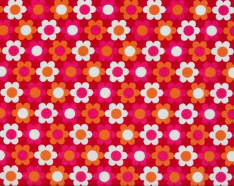 Robert Kaufman OOP Fabric  -  Kitchy Kitchen Collection  -  Daisy Print 3912 in Pink/Orange/Red  -  One Yard