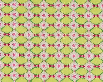 Felicity Miller OOP Fabric for Westminster Fibers - Astro Collection - Harlequin Star in Lime and Pink - One Yard
