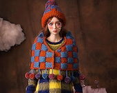 Crocheted shawl wool ball - thick knitted Cloak -  -fringed Cloak - knitted coat-Lattice