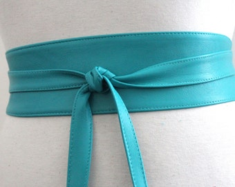 Turquoise Belt | Turquoise Leather Obi Belt  | Sash belt | Corset Belt | Bridal Sash Belt | Obi Belt | Plus Size Accessory | Wrap Tie belt
