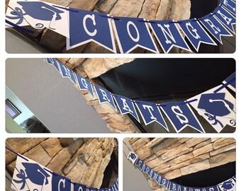 BLUE and white GRADUATION BANNER, graduation banner, blue and white graduation banner, graduation party