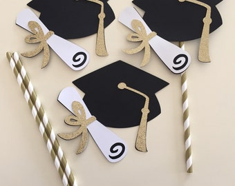 GOLD GRADUATION HAT centerpiece picks, glittery gold white black graduation centerpiece, graduation hat centerpiece
