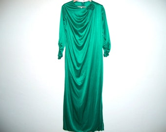 SALE Long Sleeve Green Satin Dress, with ruched sleeves and flower corsage at shoulder, ready to ship