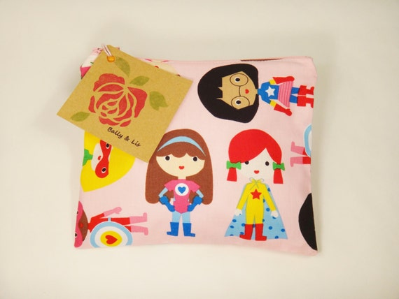 Super Girls Reusable Snack Bag, Sandwich Bag, Girls Snack Bag, Reusable Sandwich Bag, Travel Bag, Pacifier Pouch, Pet Treat Pouch