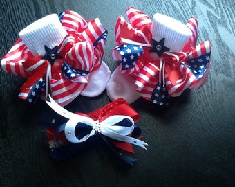 Girls red/white and blue stars/stripes socks