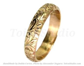 14K Gold Floral wedding band-Solid Gold wedding band