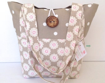 Taupe Daisy & Dotty Tote Bag, Small Lunch Bag, Small Tote Bag