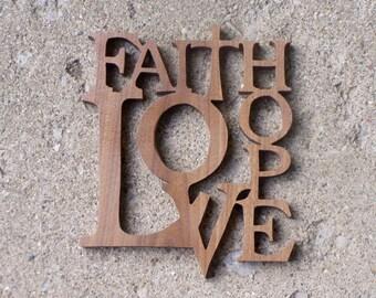 Faith Love Hope Plaque