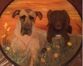 "Pet Memorial Painting by Merrie Giles over top of 18"" Glass/Metal Folding Table/ custom design/free shipping"